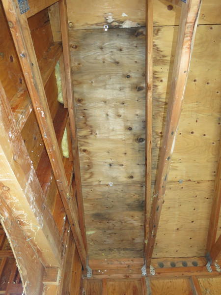 Ceiling water damage, from the inside.
