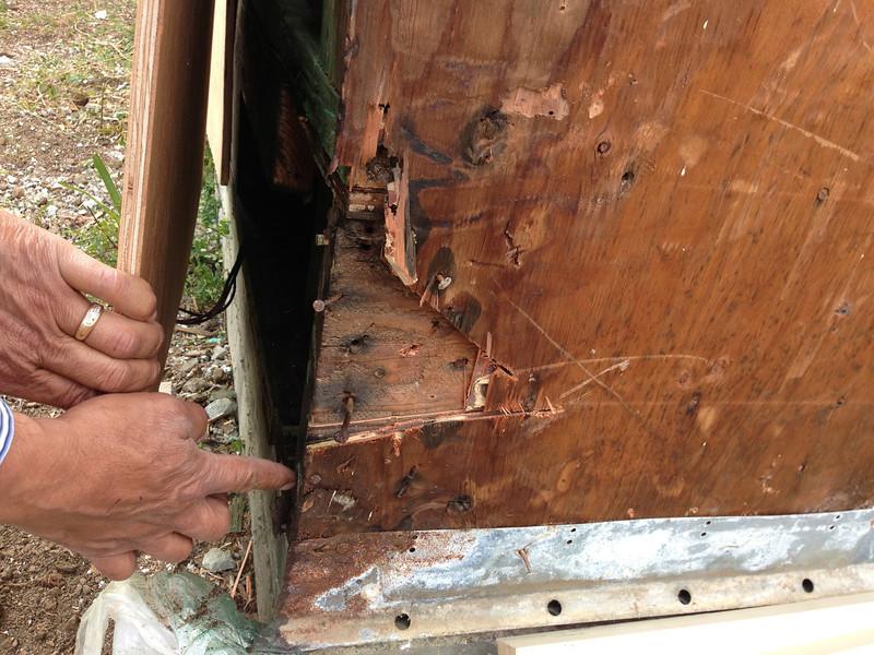 Shiny new plywood, gunky old beams (at least usable beams