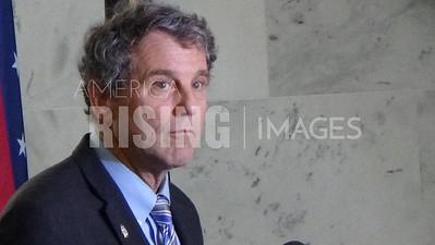 Sherrod Brown At Press Conference After Merrick Garland Senate Visit In Washington, DC