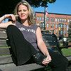 Makeup artist Sherryn Smith from Leominster on a bench in downtown on Thursday, August 9, 2019. SENTINEL & ENTERPRISE/JOHN LOVE