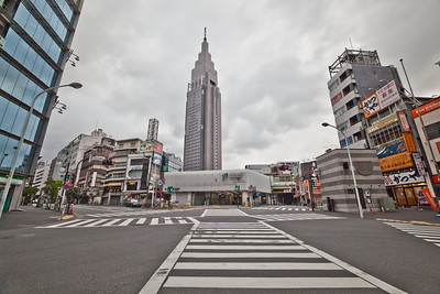 Yoyogi Station with NTT Docomo Yoyogi Building at Early morning