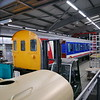 Former class 414 4308 being restored. NWSE livery this side and blue / grey other side, at Locomotion, Shildon