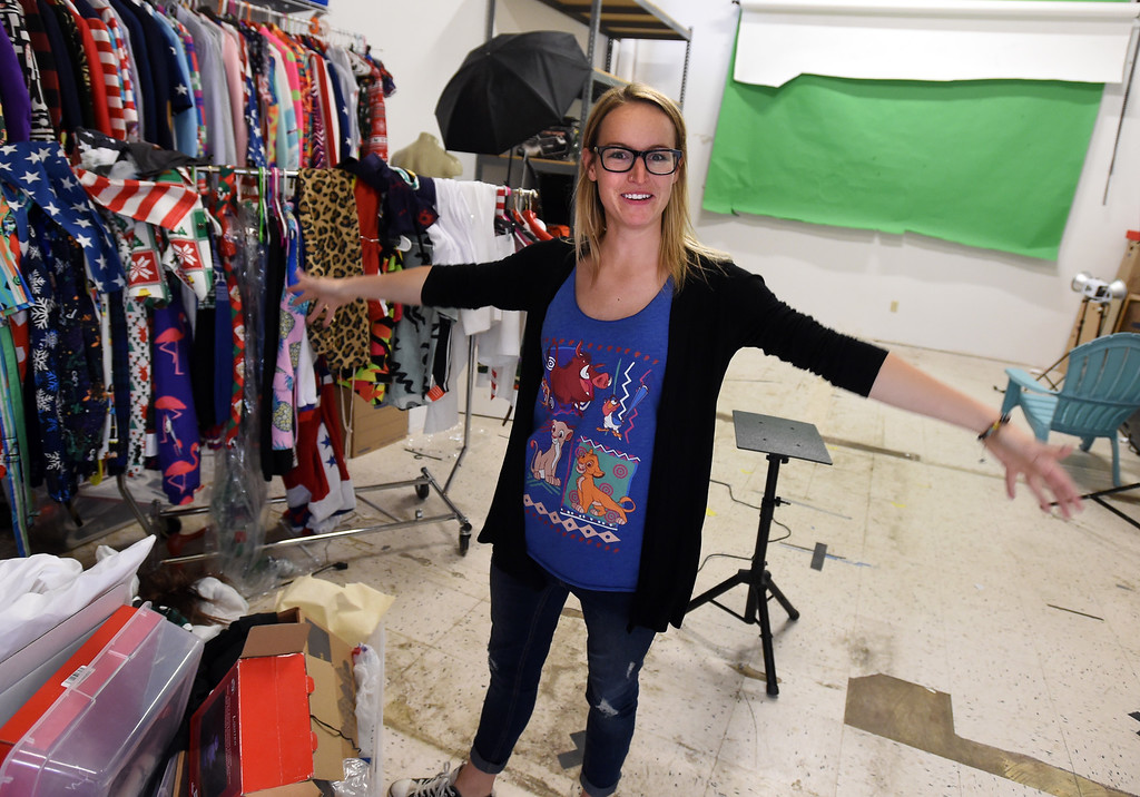 """. \""""Happiness Maker,\"""" Brittany Olsen, shows off the creative photo studio.  Shinesty in Boulder have fun with their job titles. \""""Creative\"""" job titles in Boulder County is on the rise, say job coaches and HR professionals. Cliff Grassmick  Photographer  May 11,  2018"""
