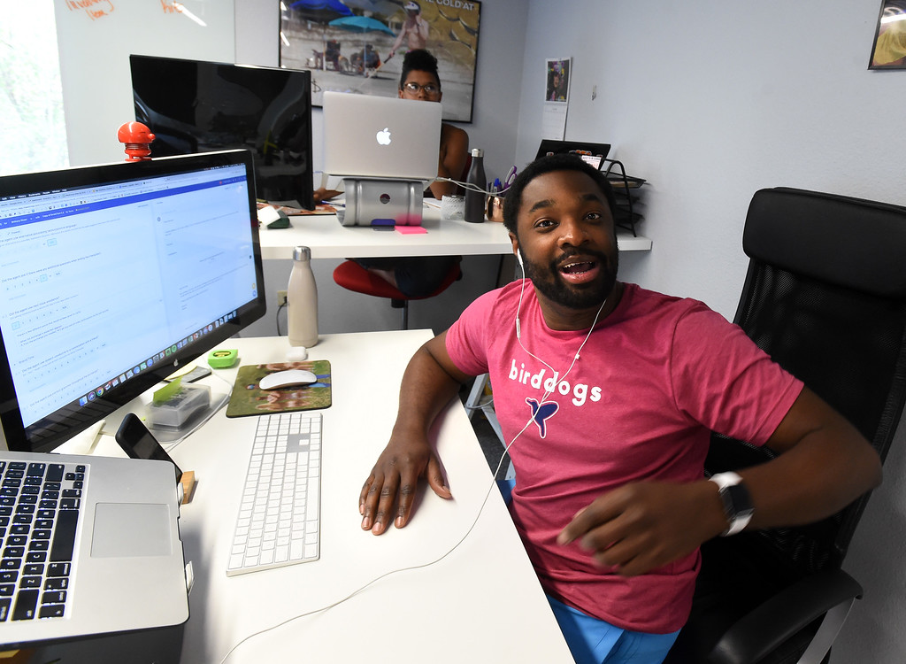 """. Antonio King, is the Director of Experience, for staff and customers. Shinesty in Boulder have fun with their job titles. \""""Creative\"""" job titles in Boulder County is on the rise, say job coaches and HR professionals. Cliff Grassmick  Photographer  May 11,  2018"""