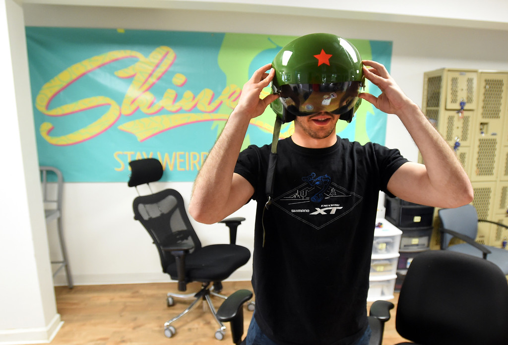 """. Austin Rosmarin calls himself the \""""Franz Dancer.\"""" He sometimes wears a Chinese fighter jet helmet. Shinesty in Boulder have fun with their job titles. \""""Creative\"""" job titles in Boulder County is on the rise, say job coaches and HR professionals. Cliff Grassmick  Photographer  May 11,  2018"""