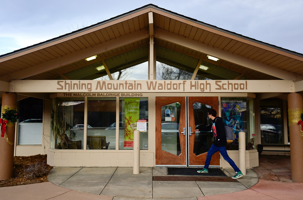 . The entrance to Shining Mountain Waldorf High School is seen in Boulder, Colorado on Jan. 8, 2018.  (Photo by Matthew Jonas/Staff Photographer)