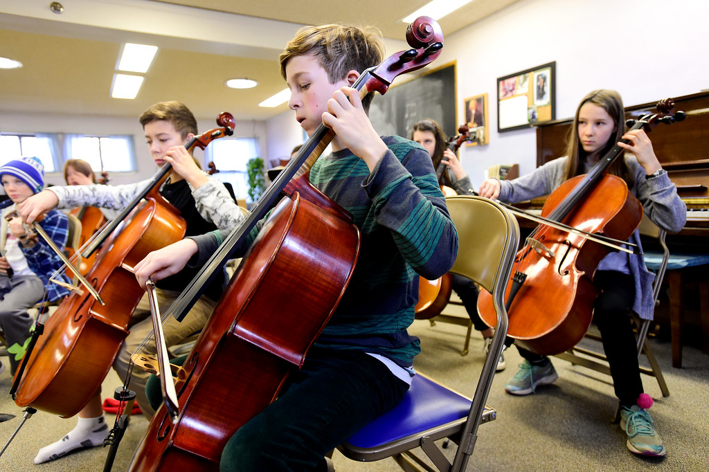 . Sixth graders in Kathleen Starr\'s orchestra class at Shining Mountain Waldorf School in Boulder, Colorado on Jan. 8, 2018.  (Photo by Matthew Jonas/Staff Photographer)