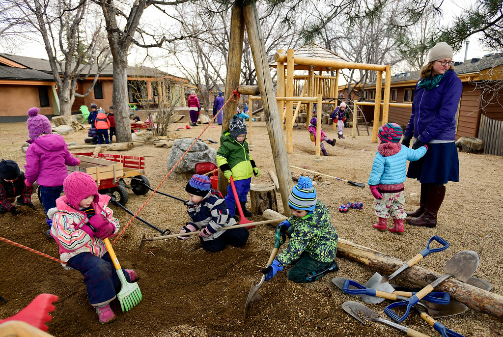 . Kindergartners and Pre-K students play outside at Shining Mountain Waldorf School in Boulder, Colorado on Jan. 8, 2018.  (Photo by Matthew Jonas/Staff Photographer)