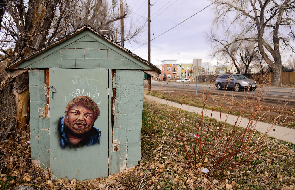 . Graffiti on an outbuilding on property owned by Shining Mountain Waldorf School is seen along Broadway in Boulder, Colorado on Jan. 8, 2018.  (Photo by Matthew Jonas/Staff Photographer)