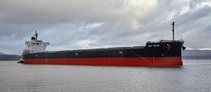 'Key Opus' passing East India Harbour, Greenock - 16 November 2015
