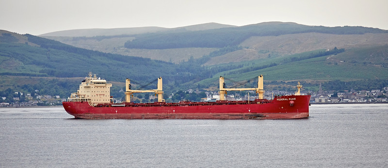 'Federal Ruhr' passing Cloch Lighthouse, Gourock - 27 July 2018