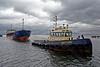 Tug 'Battler' Escorting the Damaged 'UFA' in to the James Watt Dock - 9 May 2013