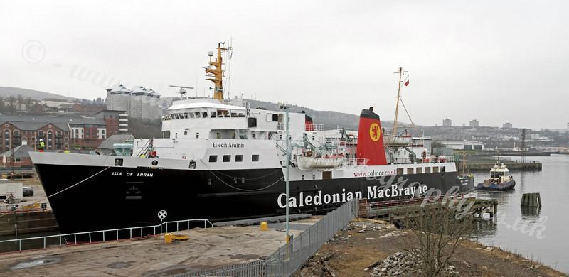MV Isle of Arran Departing Garvel Dry Dock