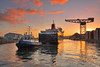 'Caledonian Isles' - Berths as the Sun Rises - James Watt Dock - 19 January 2012