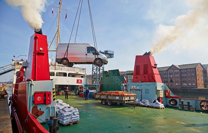 Loading vehicles on the 'MV Orcadia' at James Watt Dock - 22 April 2015