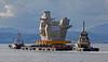 (HMS) Queen Elizabeth Aft Island Move - Passing Port Glasgow - 16 June 2013