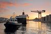 Caledonian Isles and Tug Bruiser - James Watt Dock - 19 January 2012