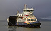 'MV Loch Shira' with 'Bruiser' at James Watt Dock - 4 February 2014