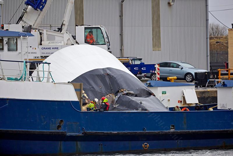 'Lyrawa Bay' -with Damaged Visor from the 'Coruisk' at James Watt Dock - 15 March 2014