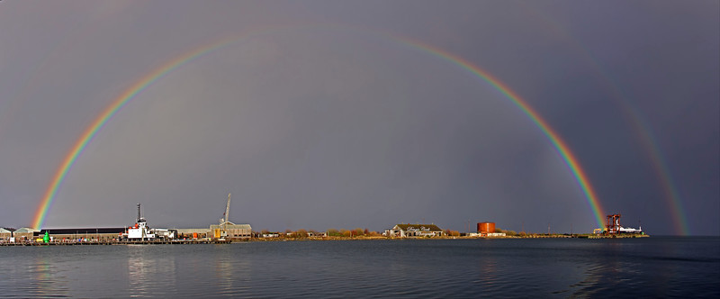 Rainbow over Great Harbour in Greenock - 16 February 2021