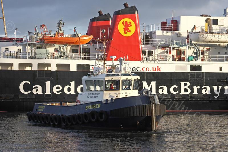 Tug 'Bruiser' assists 'Isle of Arran' - Garvel Dry Dock - 19 January 2012