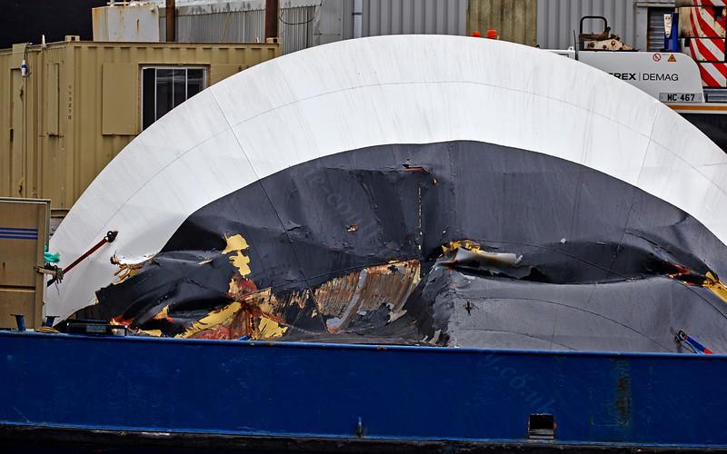 'Coruisk' Damaged Visor at James Watt Dock - 15 March 2014