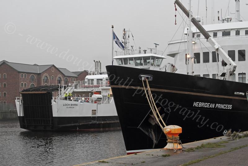 Loch Shira Passing Hebridean Princess - James Watt Dock - 27 December 2011