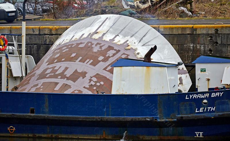 'Coruisk' Repaired Bow Visor at James Watt Dock - 7 April 2014