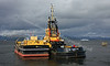SD Impetus and Lighter 1710U Depart Garvel Dry Dock for Great Harbour, Greenock