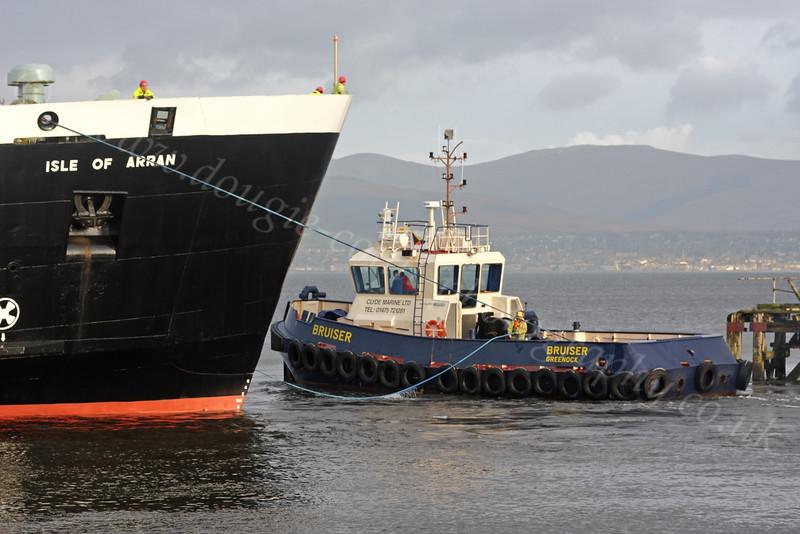 'Isle of Arran' and tug 'Bruiser' - Garvel Dry Dock - 19 January 2012
