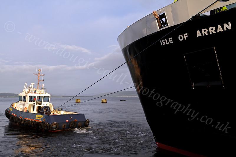'Isle of Arran' and tug 'Bruiser' - James Watt Dock - 19 January 2012