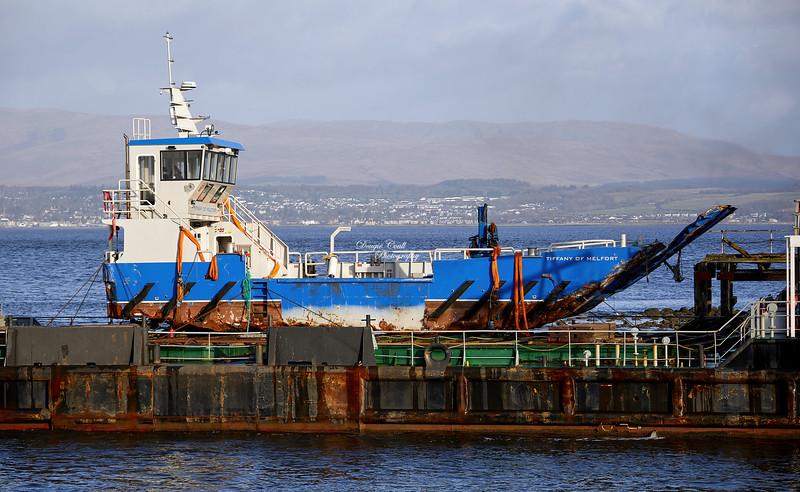 Tiffany of Melfort aboard the Lara 1 at James Watt Dock - 21 November 2020