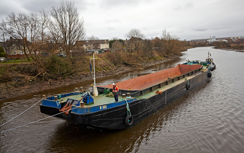Barge on the River Cart at the Bascule Bridge - 9 March 2014