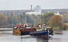 Tugs and Barge Navigate the River Cart at Renfrew - 11 October 2018
