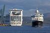Caribbean Princess and James Cook - Off Ocean Terminal - 12 May 2012