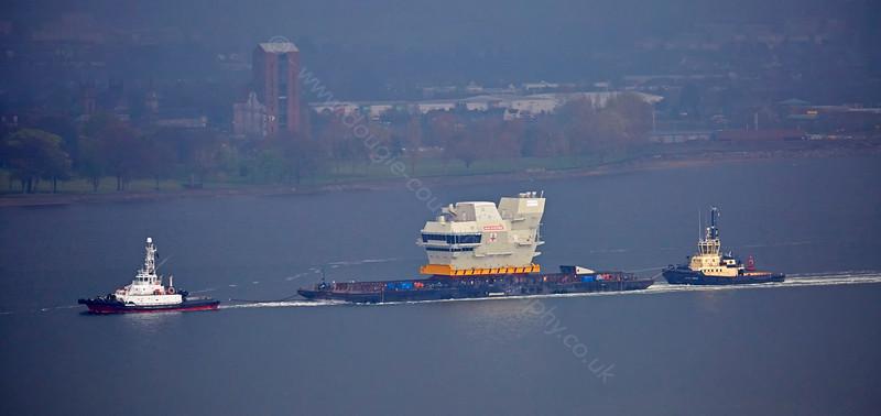 'Prince of Wales' Carrier Bridge Module passing Langbank - 24 April 2015