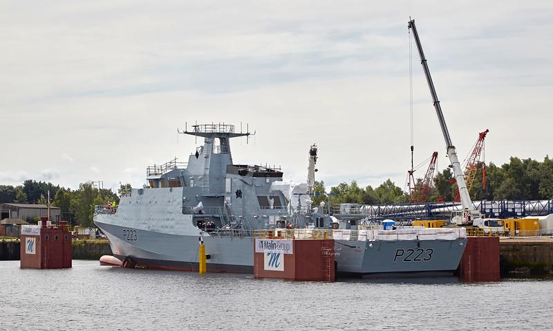 (HMS) Medway during floatoff at King George V Docks - 23 August 2017