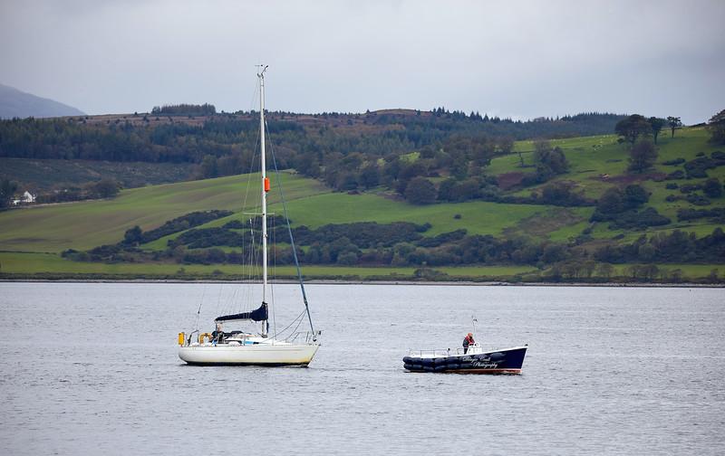 Yacht under tow off Greenock - 30 September 2020