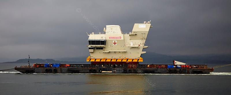 'Prince of Wales' Carrier Bridge Module passing Port Glasgow - 24 April 2015