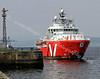 Vos Pathfinder arriving at Garvel Dock for Refit