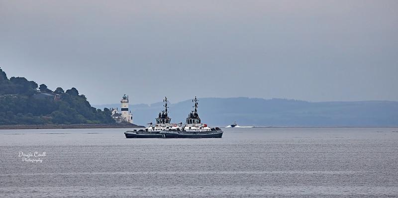 Serco Tugs await off  Cloch Lighthouse - 27 August 2021