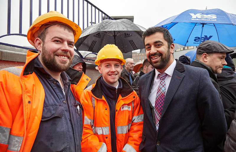 Humza Yousaf with Yard Workers at the Launch of MV Glen Sannox - 21 November 2017