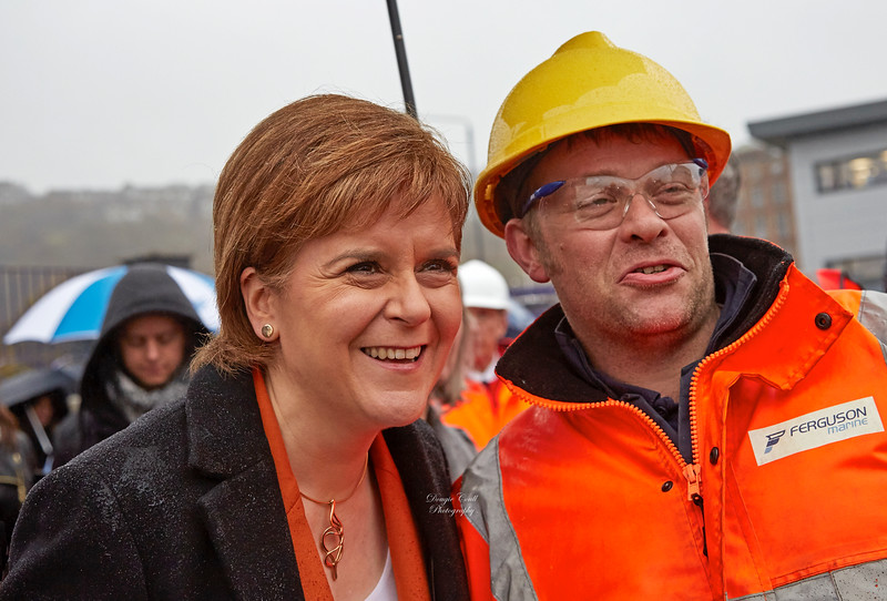 First Minister Nicola Sturgeon's and Yard Worker at the launch of MV Glen - 21 November 2017