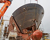 Bow Fitting on Glen Sannox at Ferguson Marine Shipyard - 4 September 2017