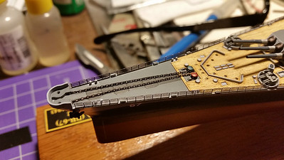 170928: PE rails are near-perfect fit.  Kit includes blackened anchor chain, too.