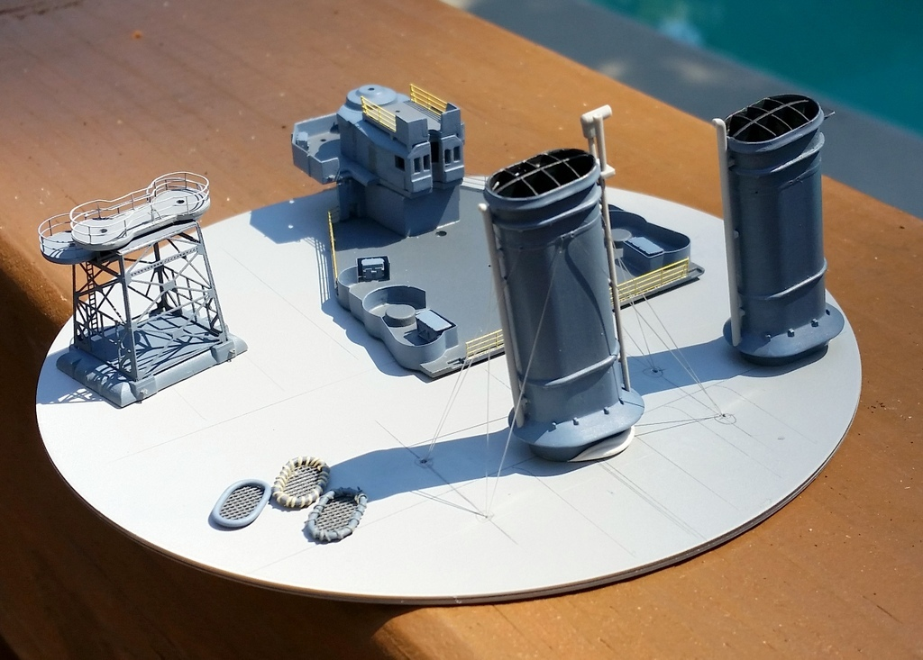 160827: CA-38 PE for boat deck and other progress.  Note trial rigging on funnel.