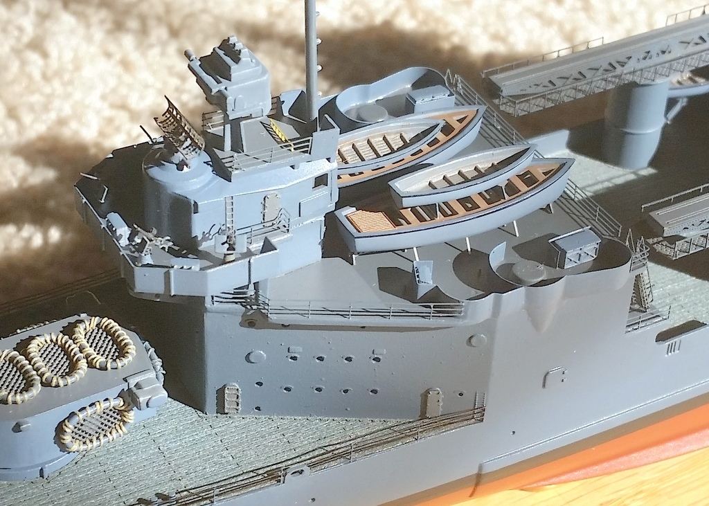161017: CA38 progress.  STBD Utility boat is on a PE skid with sprue stabilizers (drilled into hull).