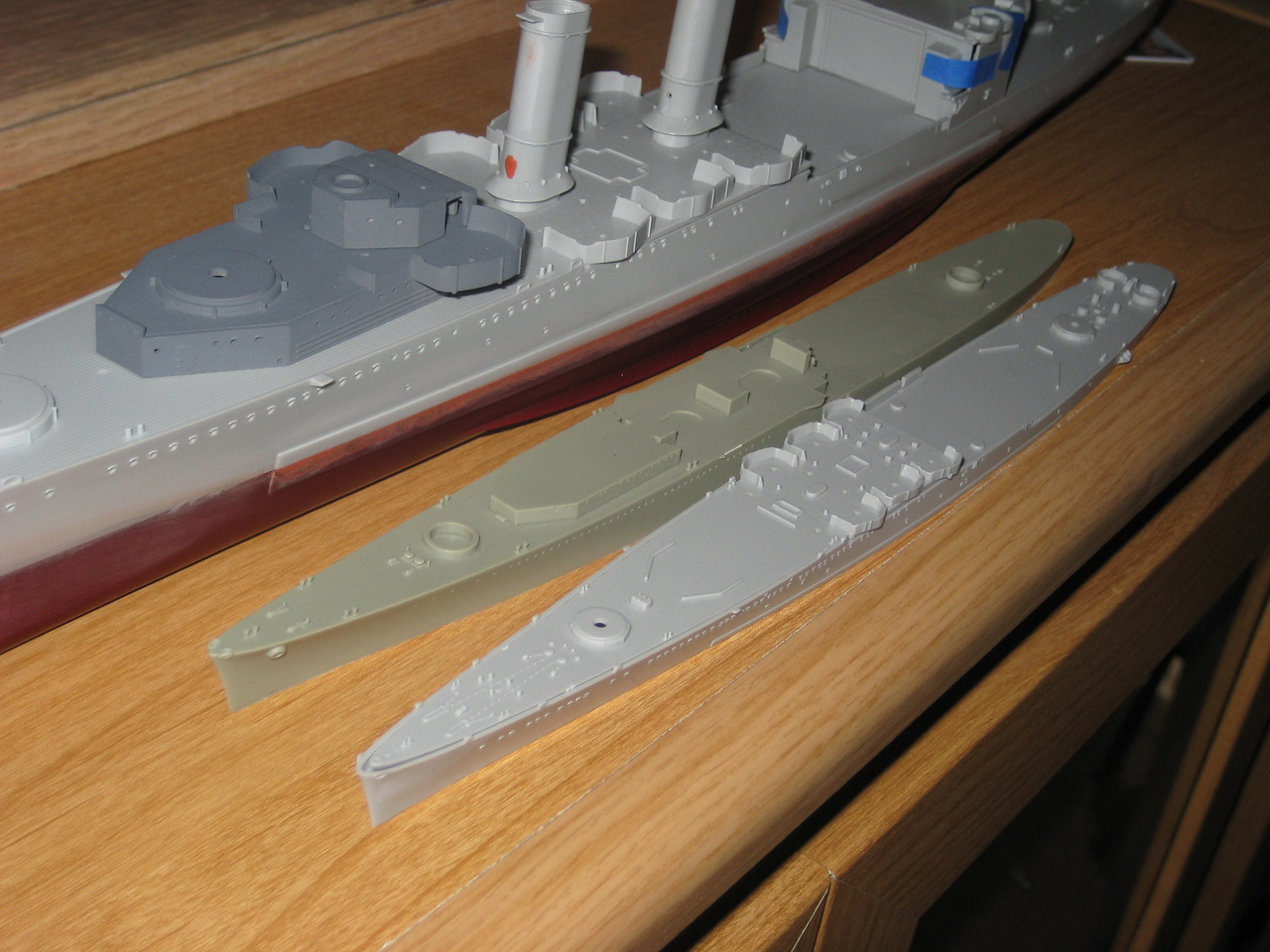 080419: CA-38 with her younger sisters (Combrig, Trumpeter kits in 1/700)