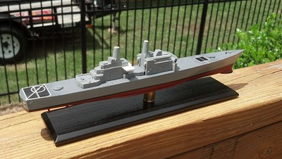 120804: CWIS platforms from sheeet styrene.  Ship's name from laser printed decal.