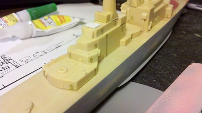120325: CGN-37 Superstructure parts detailed w/ PE doors and ladders, etc.